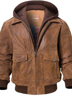 FLAVOR Men's Leather Flight Bomber Jacket