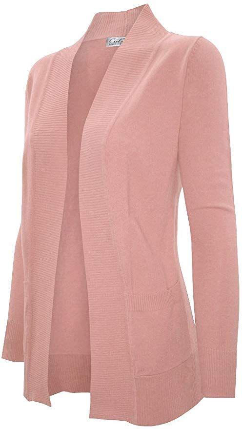 Cielo Women's Solid Basic Sweater Cardigan