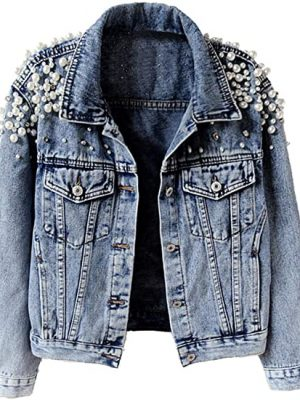KEDERA Women's Embroidered Rivet Pearl Short Denim Jacket